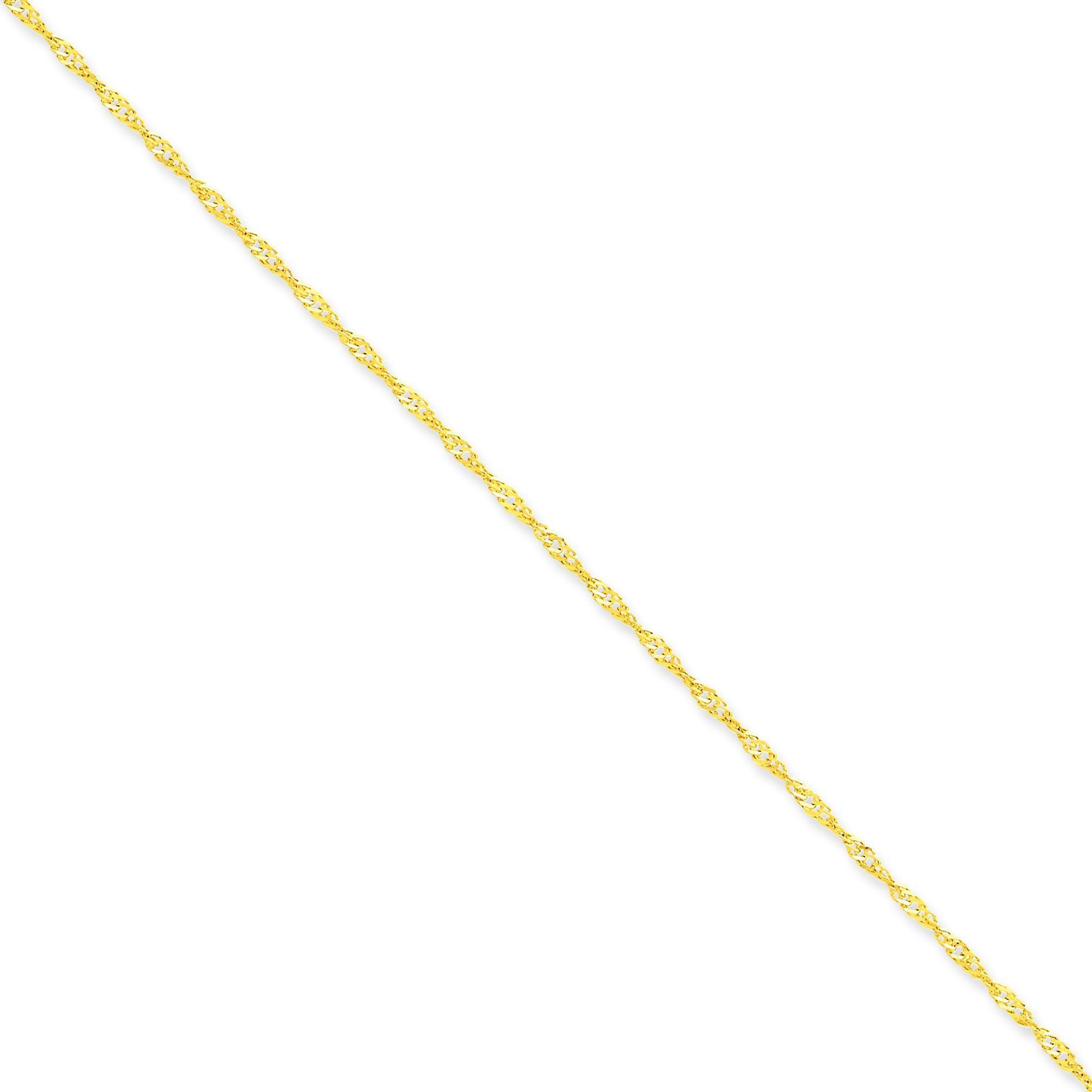 14k Yellow Gold 7 inch 1.70 mm  Singapore Chain Bracelet