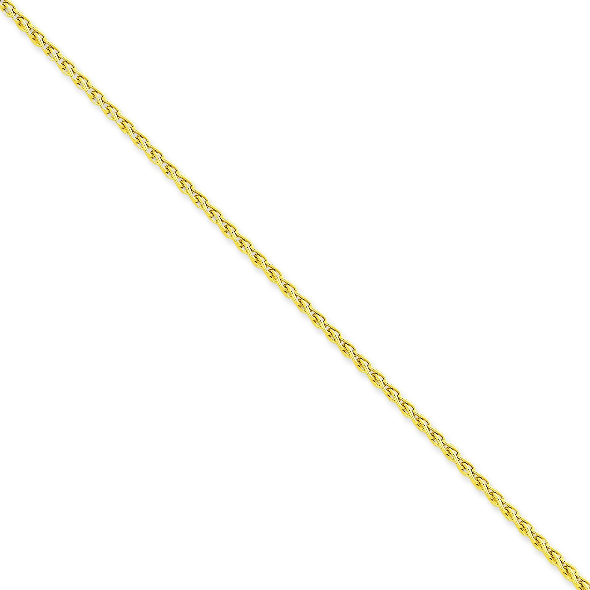 14k Yellow Gold 7 inch 2.50 mm Parisian Wheat Chain Bracelet