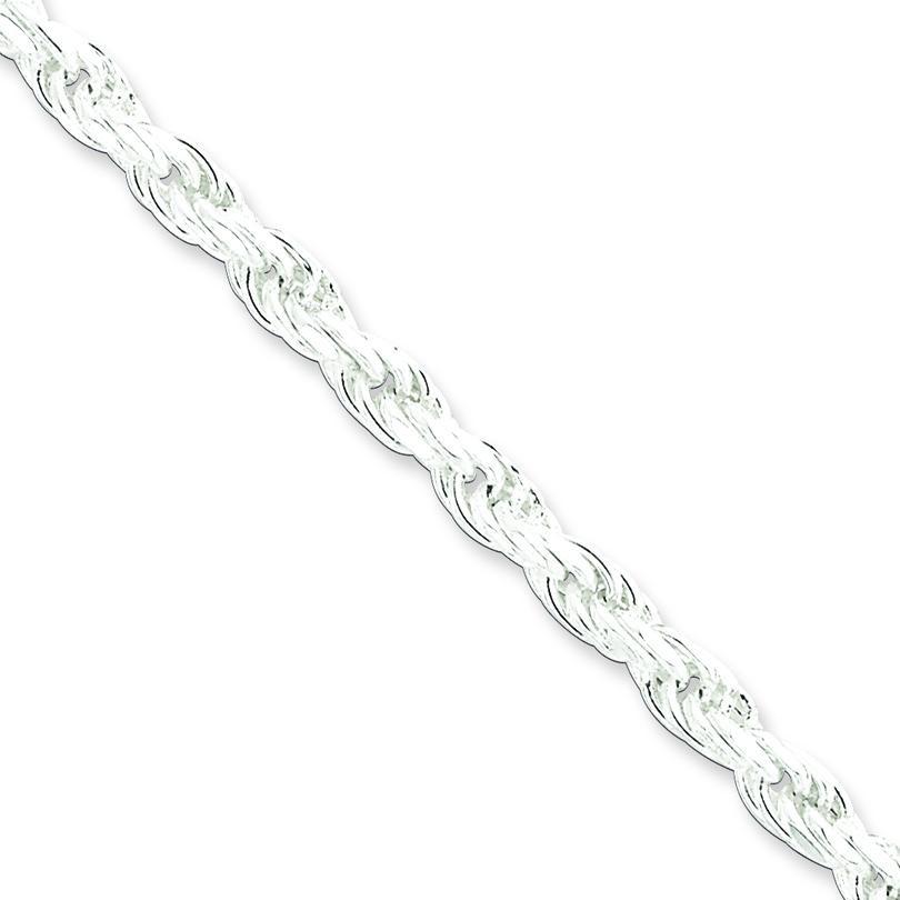 Sterling Silver 7 inch 4.25 mm Diamond-cut Rope Chain Bracelet