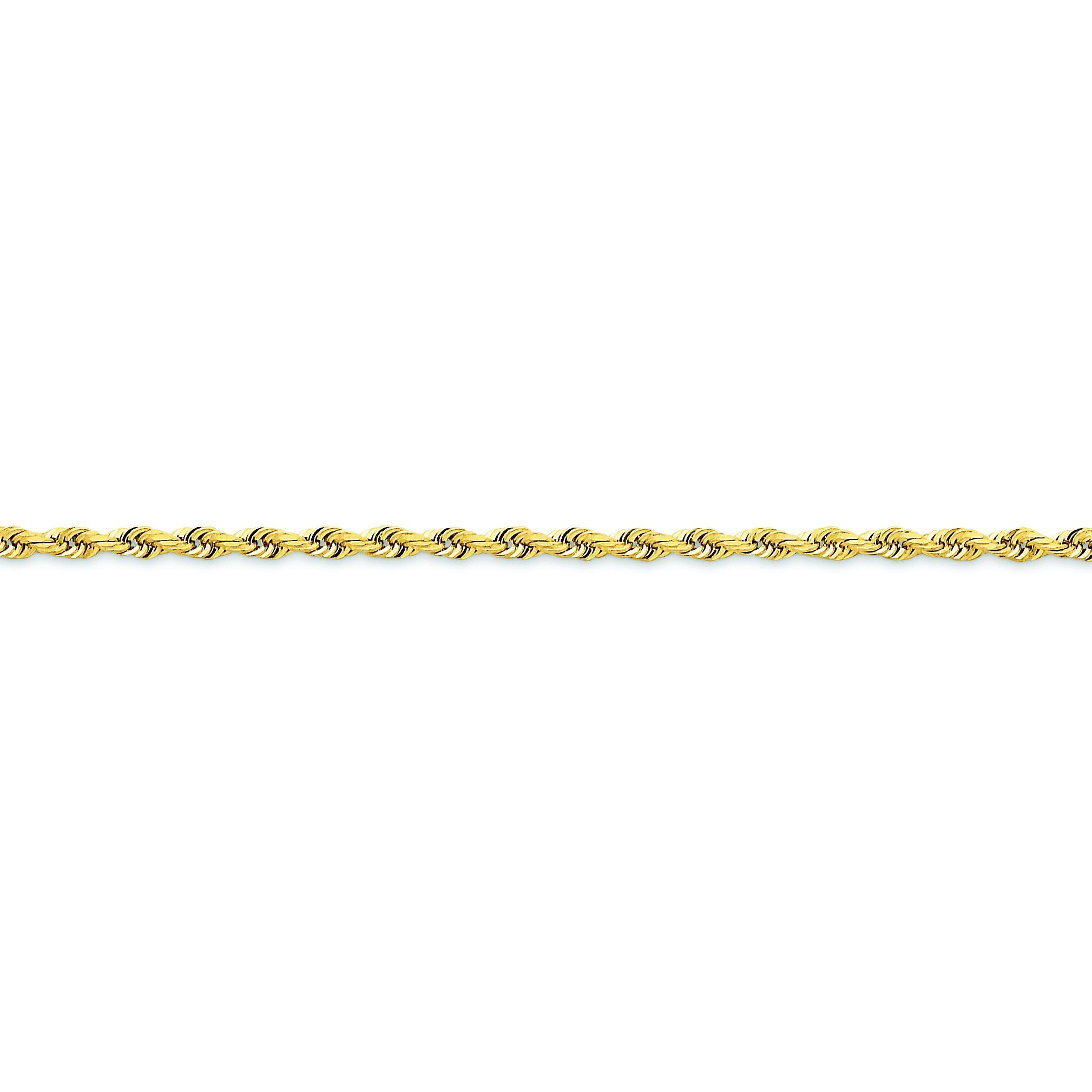 14k Yellow Gold 7 inch 2.75 mm Diamond-cut Quadruple Rope Chain Bracelet