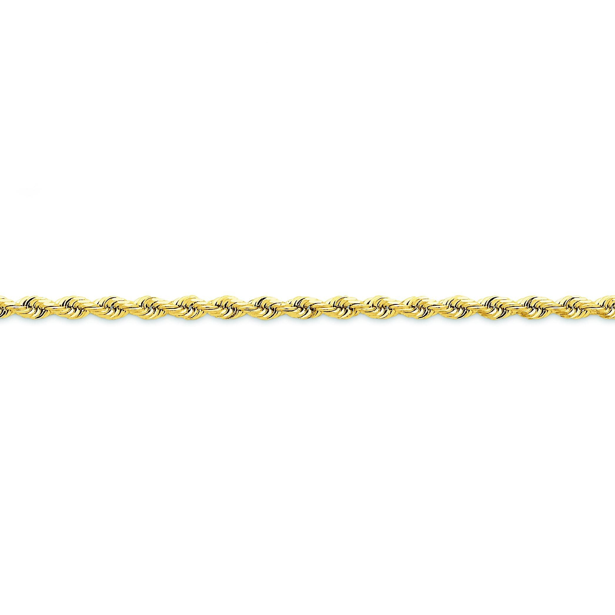 14k Yellow Gold 7 inch 3.50 mm Diamond-cut Quadruple Rope Chain Bracelet