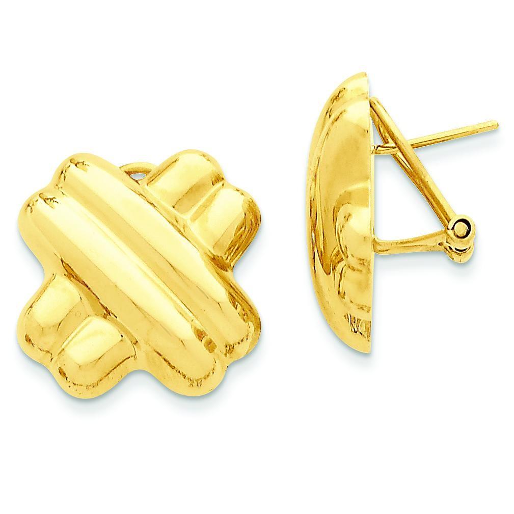 X Omega Back Post Earrings in 14k Yellow Gold