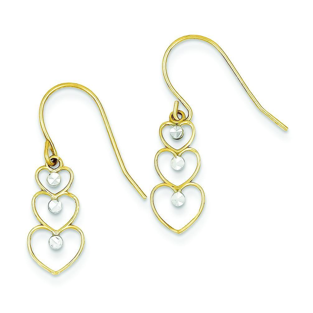 Rhodium Diamond Cut Heart Dangle Earrings in 14k Yellow Gold
