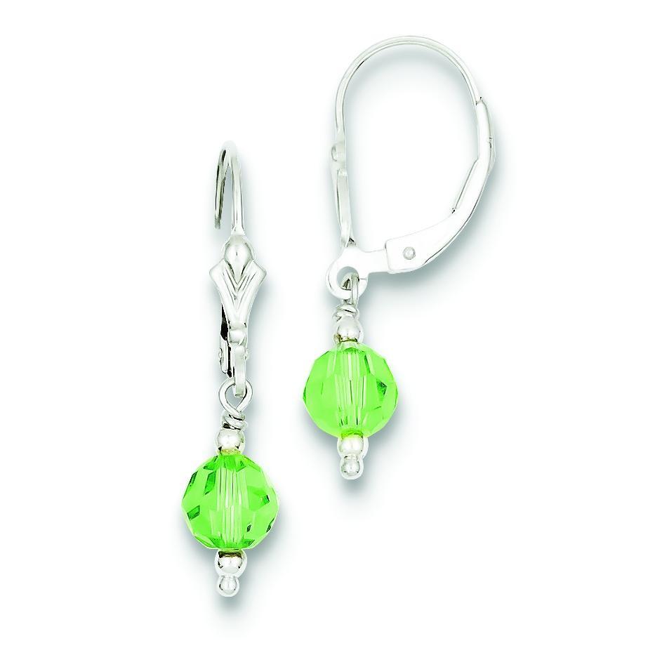 Green Crystal Leverback Earrings in Sterling Silver