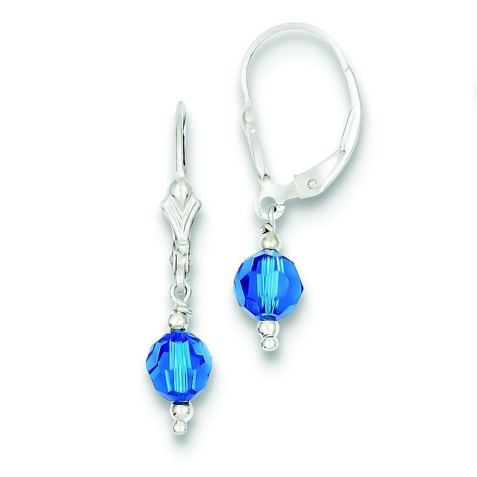 Dark Blue Crystal Leverback Earrings in Sterling Silver