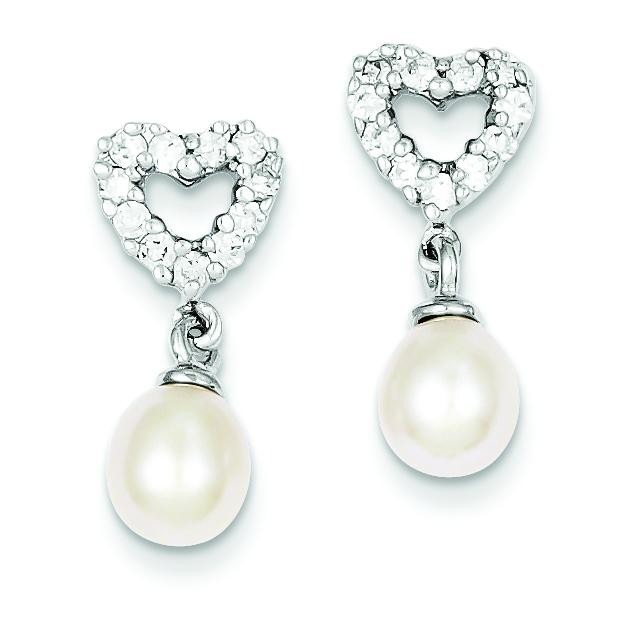 Freshwater Cultured Pearl CZ Earrings in Sterling Silver