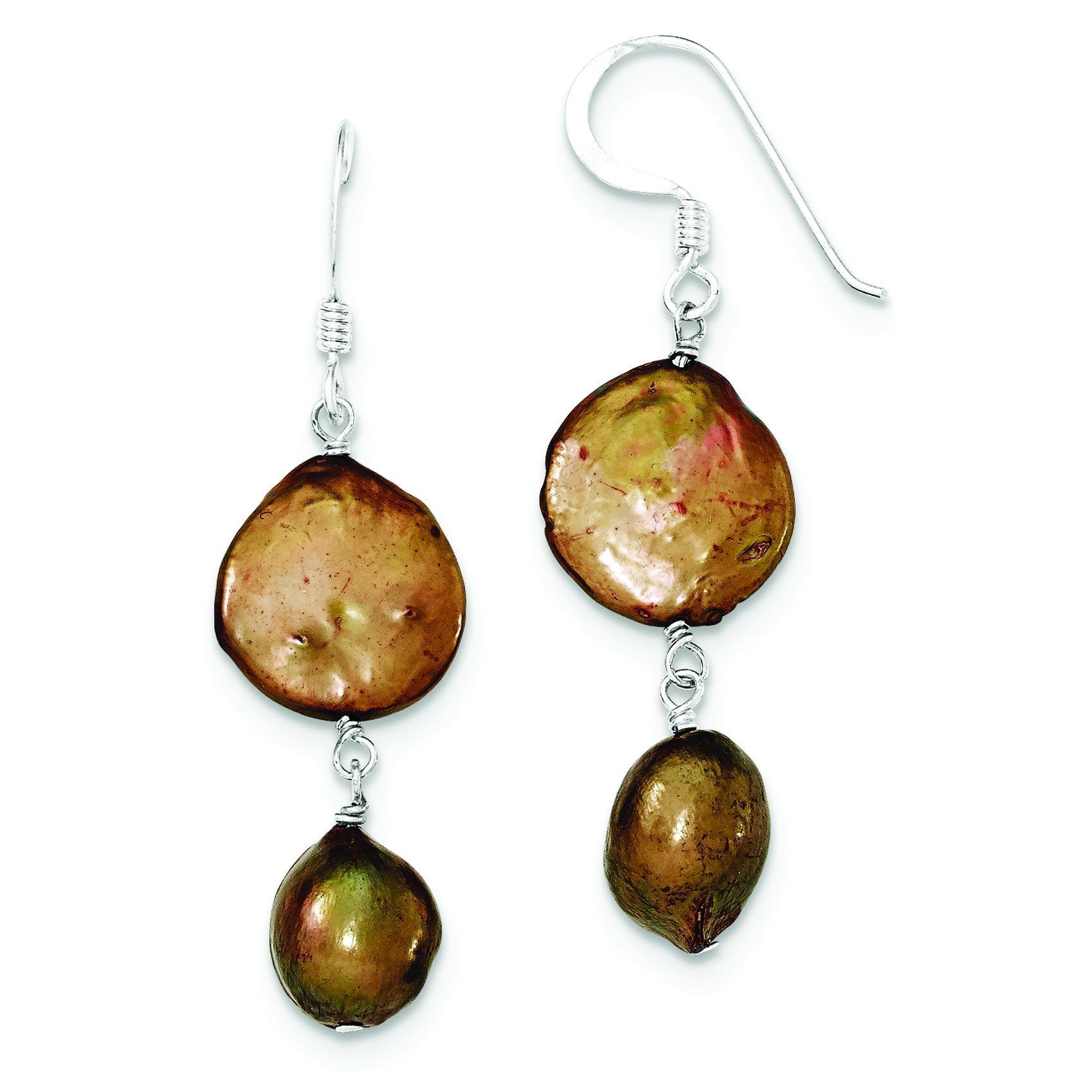 Copper Freshwater Cultured Pearl Earrings in Sterling Silver
