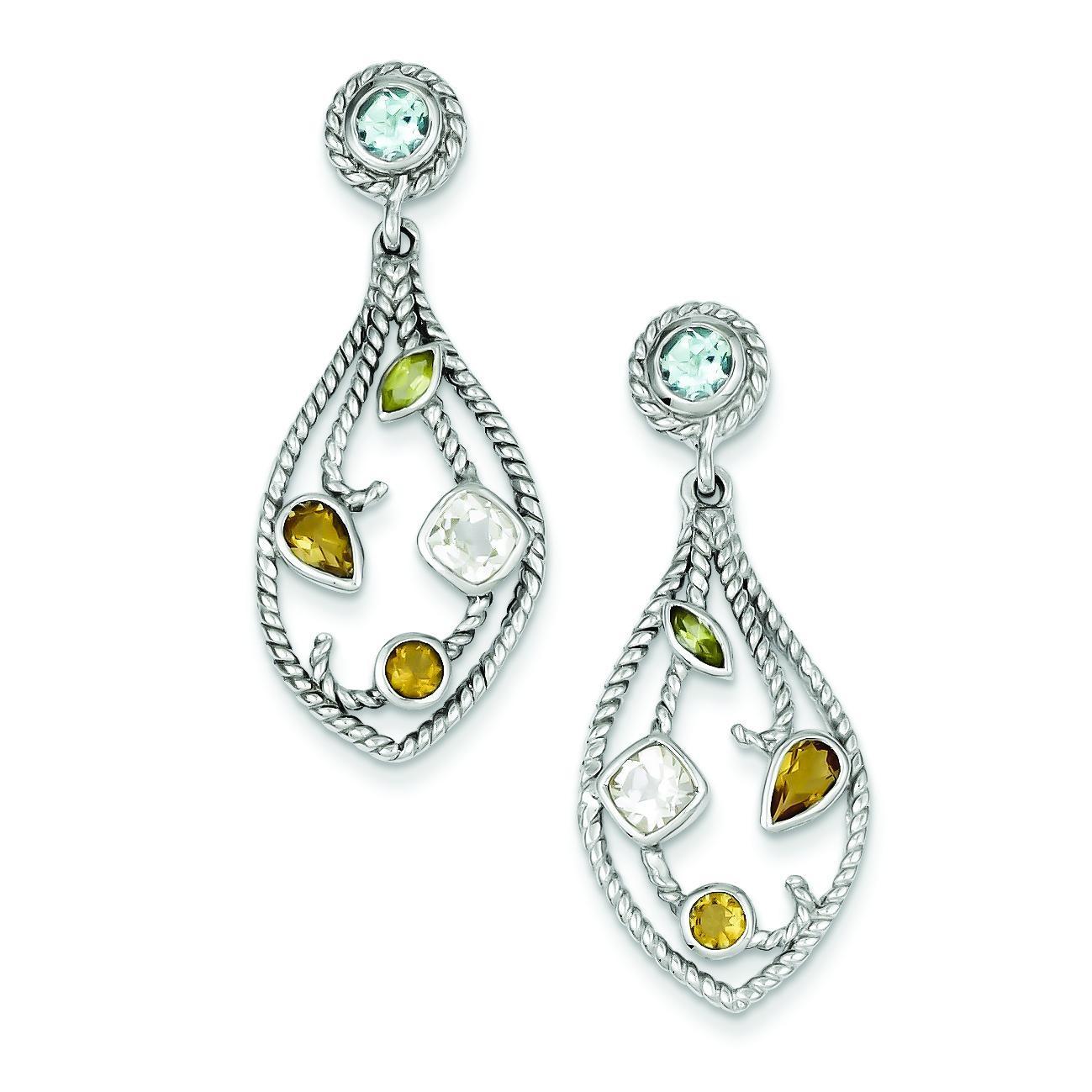 CZ Multi Color Gemstone Post Dangle Earrings in Sterling Silver