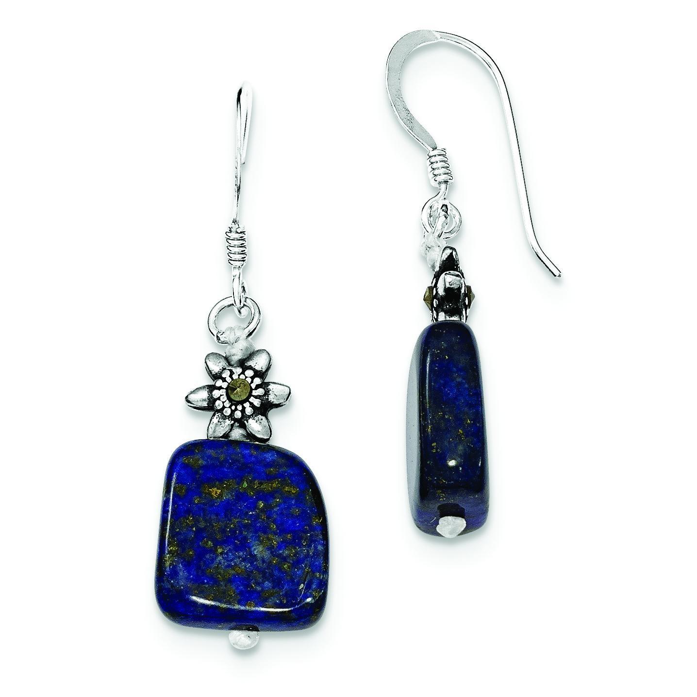 Lapis Marcasite Earrings in Sterling Silver