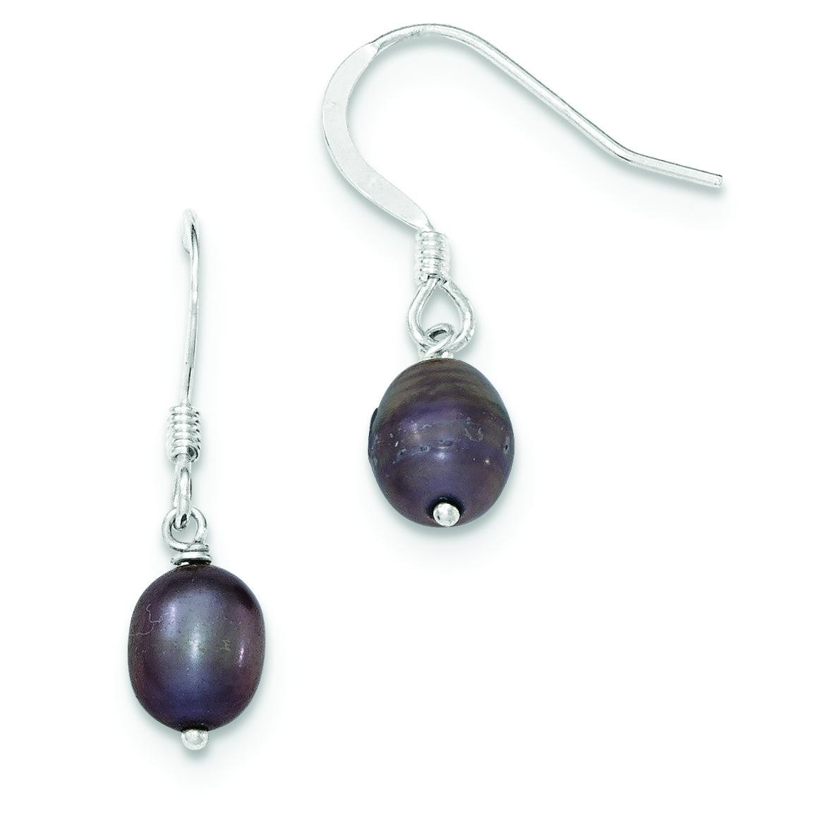 Black Cultured Freshwater Pearl Earrings in Sterling Silver