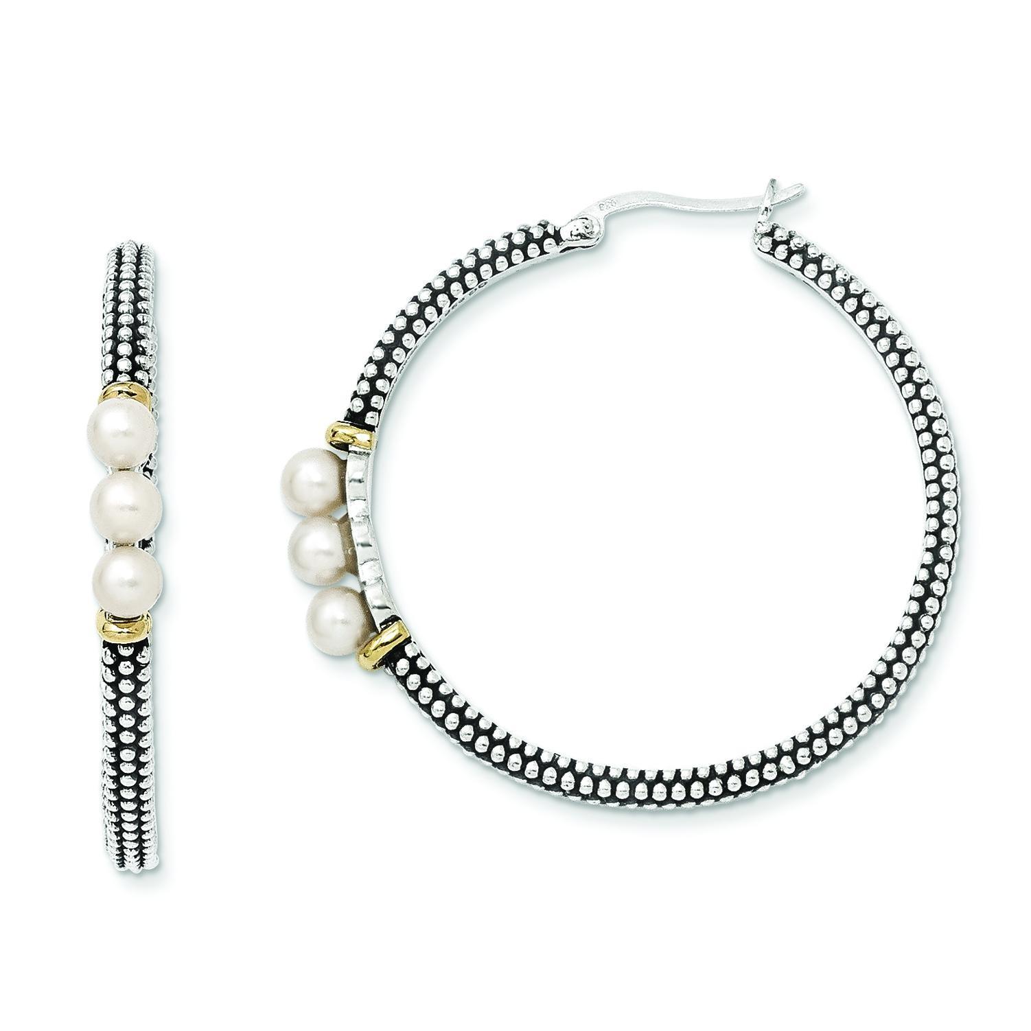 W Button Fresh Water Cultured Pearl Hoop Earrings in 14k Yellow Gold & Sterling Silver