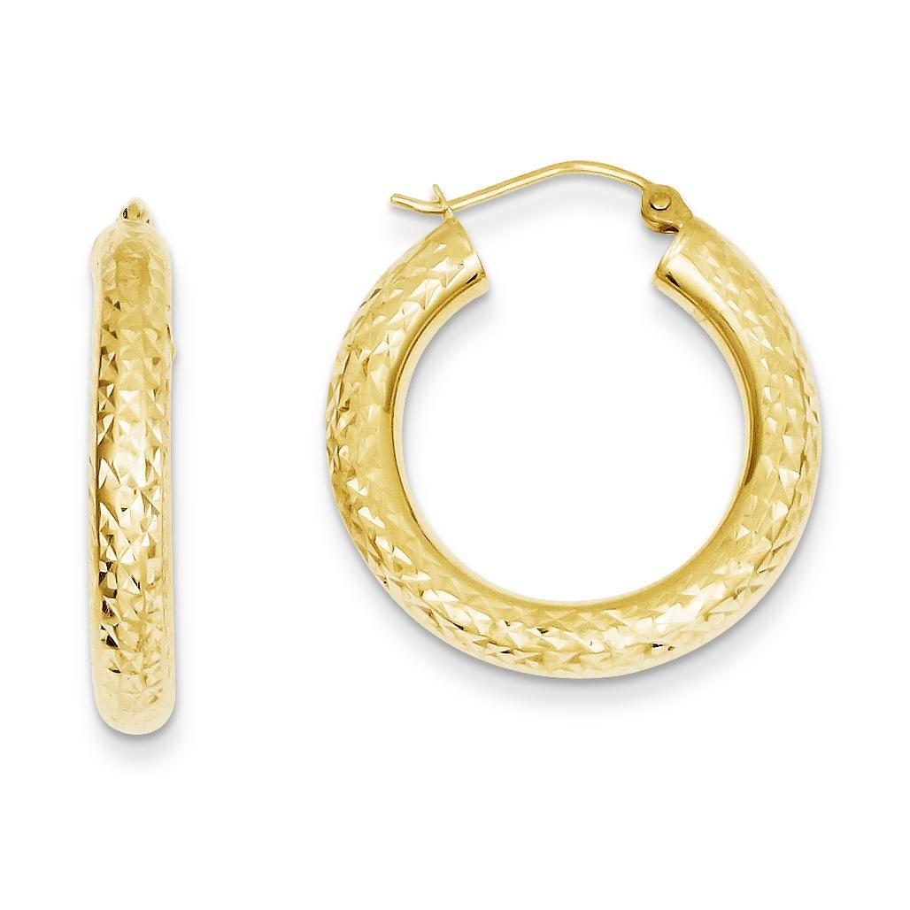 Diamond Cut Round Hoop Earrings in 14k Yellow Gold