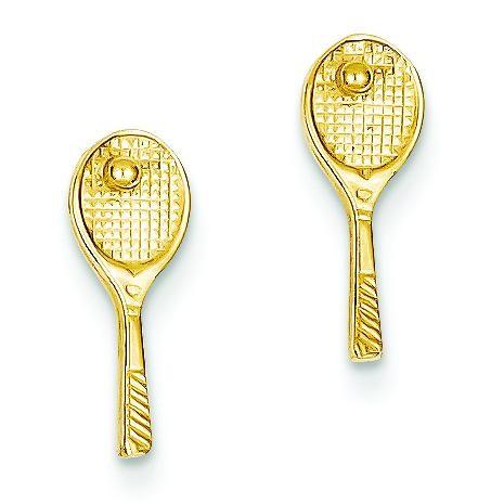 Mini Tennis Racquet W Ball Post Earrings in 14k Yellow Gold