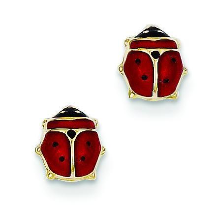 Enameled Ladybug Post Earrings in 14k Yellow Gold