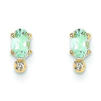 Diamond Aquamarine Birthstone Earrings in 14k Yellow Gold (0.018 Ct. tw.)