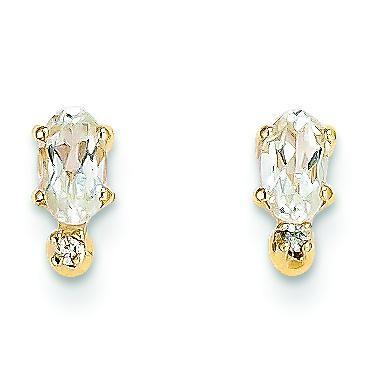 Diamond White Topaz Birthstone Earrings in 14k Yellow Gold (0.018 Ct. tw.)