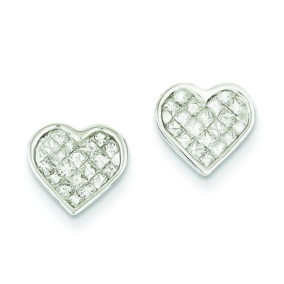 Diamond Heart Earrings in 14k White Gold