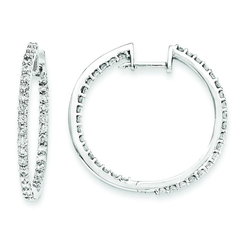 Diamond Hoop Earrings in 14k White Gold