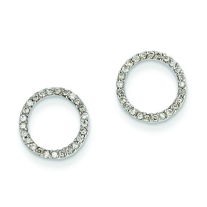 4Ctw Circle Diamond Earrings in 14k White Gold