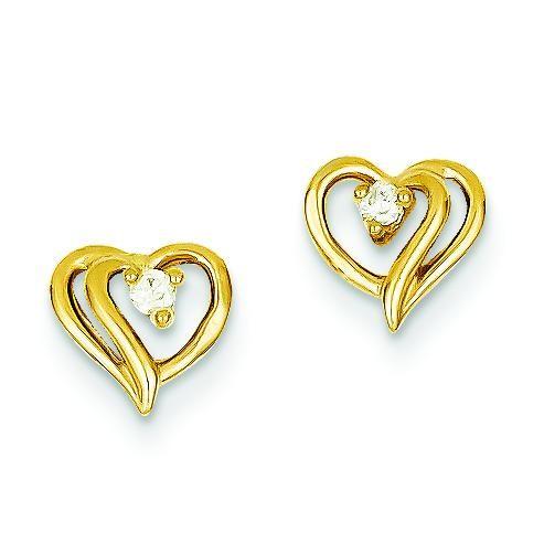 Diamond Heart Earrings in 14k Yellow Gold (0.05 Ct. tw.) (0.05 Ct. tw.)