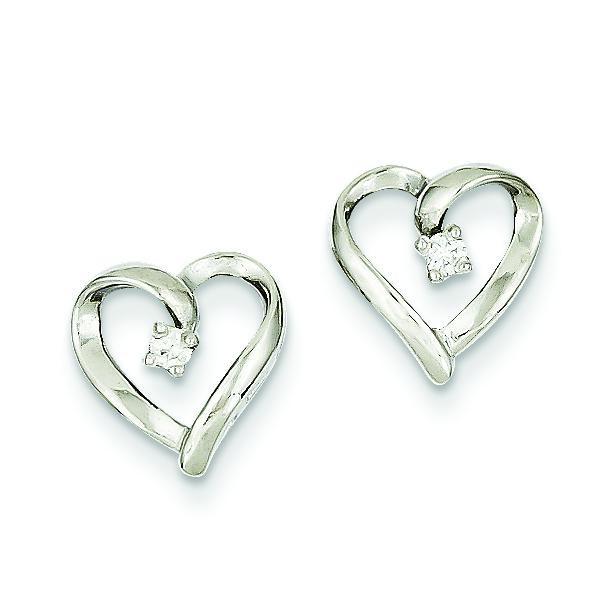 Diamond Heart Earrings in 14k White Gold (0.05 Ct. tw.) (0.05 Ct. tw.)