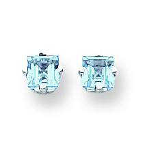 Princess Cut Blue Topaz Earrings in 14k White Gold
