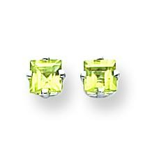 Princess Cut Peridot Earrings in 14k White Gold