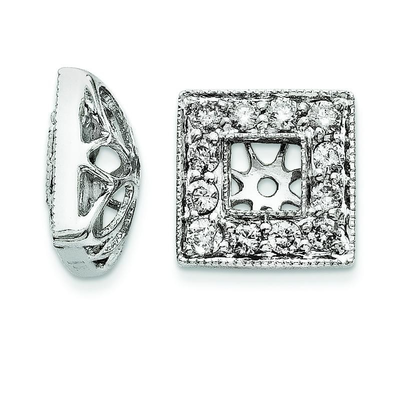 Diamond Square Jacket Earrings in 14k White Gold