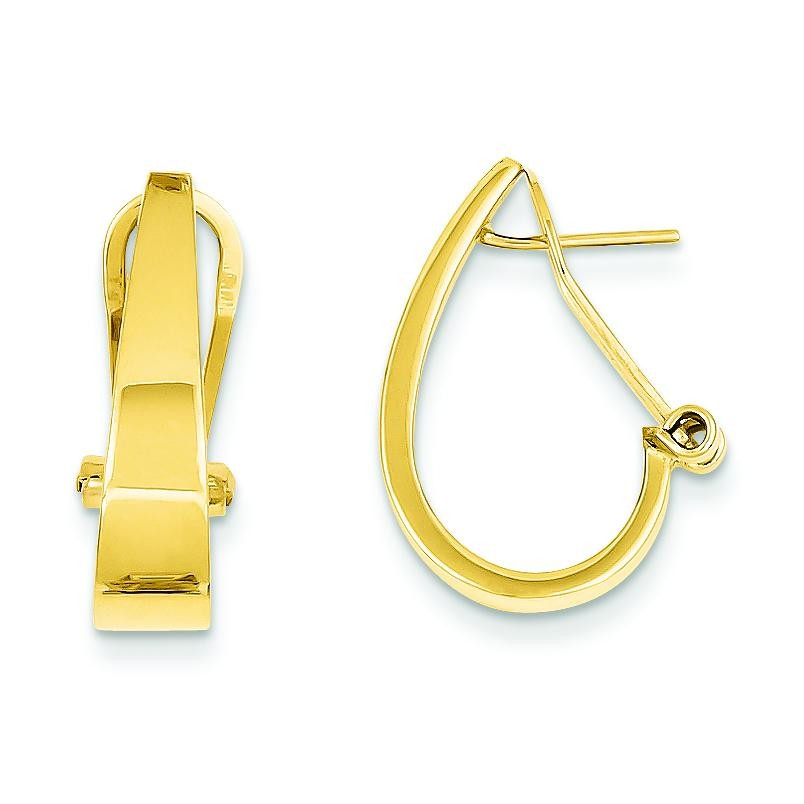 J-Hoop Omega Back Post Earrings in 14k Yellow Gold