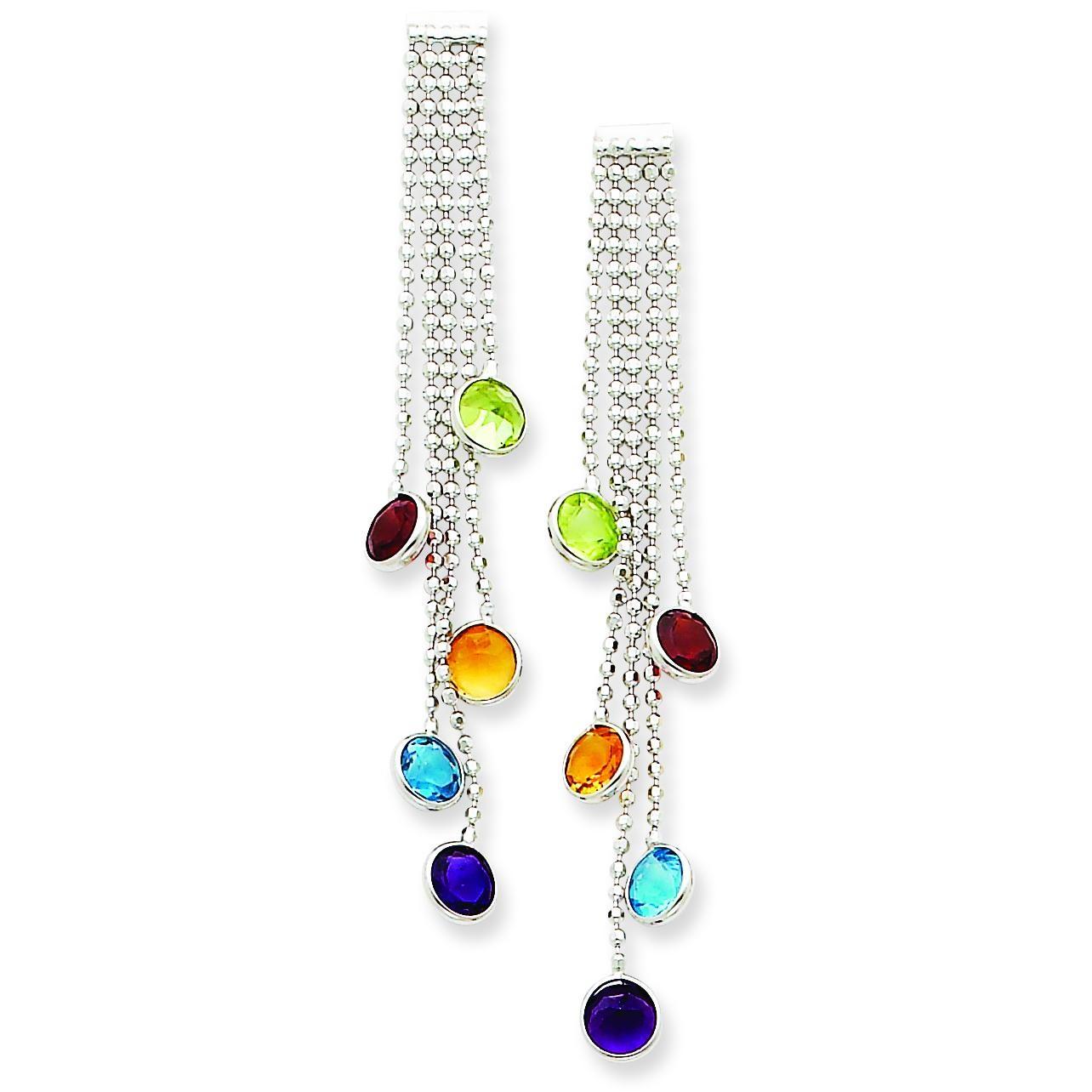 Multicolored Gemstone Dangle Earrings in 14k White Gold