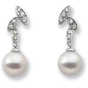 Pearl Diamond Earrings in 14k White Gold (0.01 Ct. tw.)