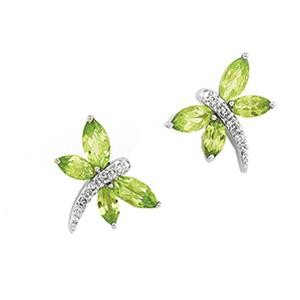 Peridot Diamond Dragonfly Earrings in 14k White Gold (0.04 Ct. tw.) (0.04 Ct. tw.)