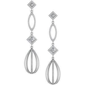 Diamond Earrings in 14k White Gold (3.5 Ct. tw.) (3.5 Ct. tw.)