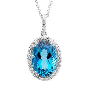 Swiss Blue Topaz Diamond Necklace in 14k White Gold (0.37 Ct. tw.) (0.37 Ct. tw.)