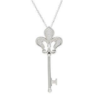 Diamond Fleur De Lis Key Necklace in Sterling Silver (0.2 Ct. tw.) (0.2 Ct. tw.)