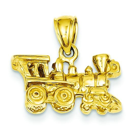 Locomotive Pendant in 14k Yellow Gold