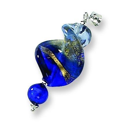 Blue Spiral Murano Glass Pendant in Sterling Silver