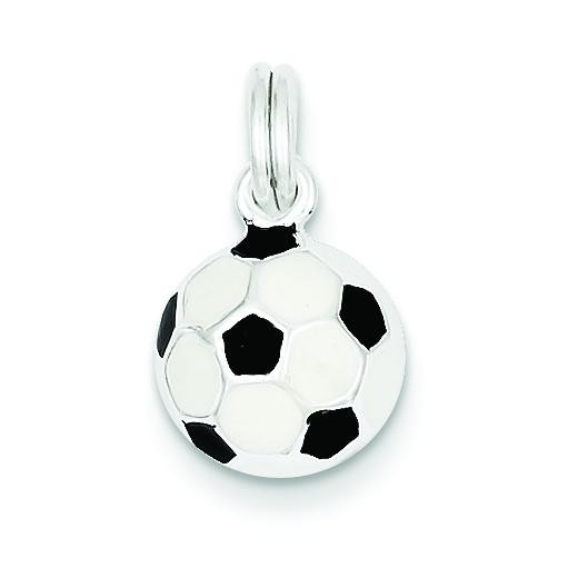 Black White Soccer Ball Charm in Sterling Silver