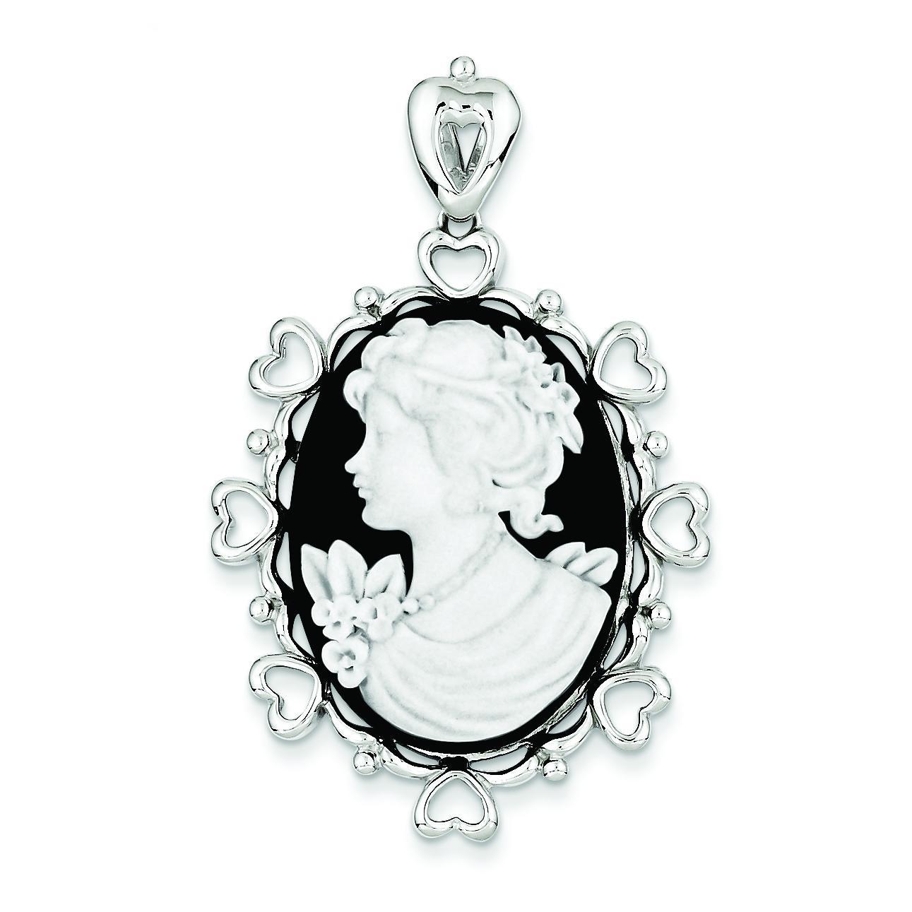 Black White Pendant in Sterling Silver