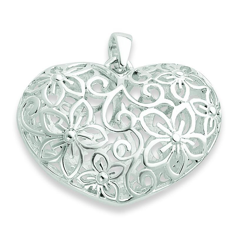 Flower Filigree Design Puffed Heart Pendant in Sterling Silver