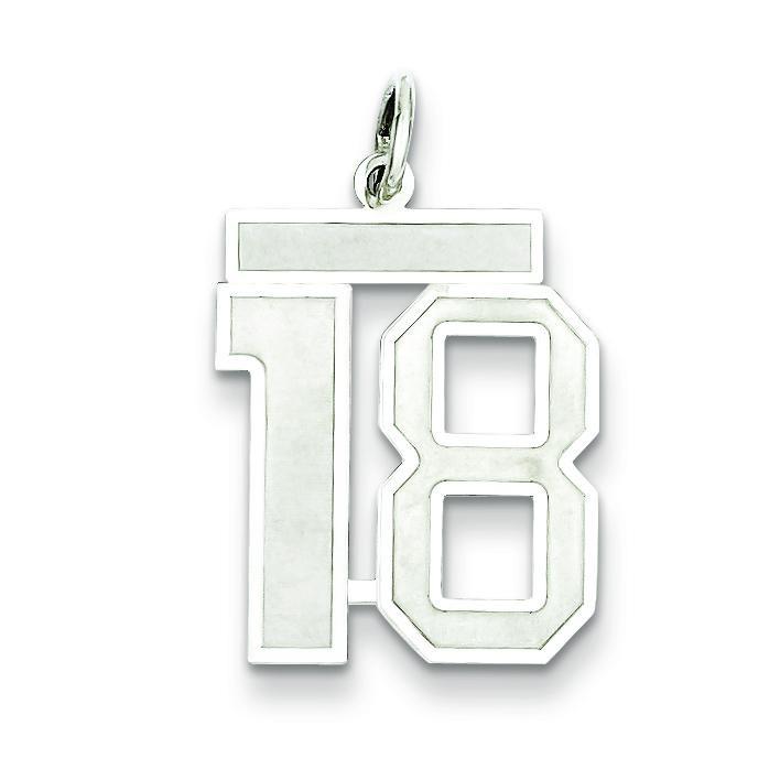 Medium Number 18 in Sterling Silver