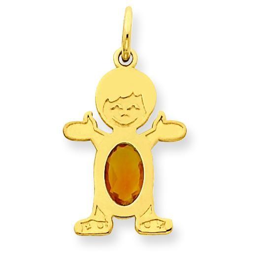 Boy Oval Genuine Citrine Nov in 14k Yellow Gold