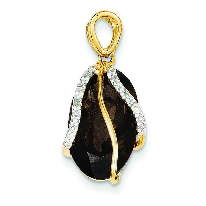 Smokey Quartz Diamond Pendant in 14k Yellow Gold