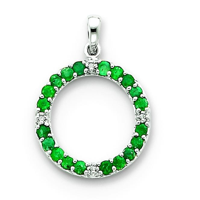 Emerald Diamond Circle Pendant in 14k White Gold