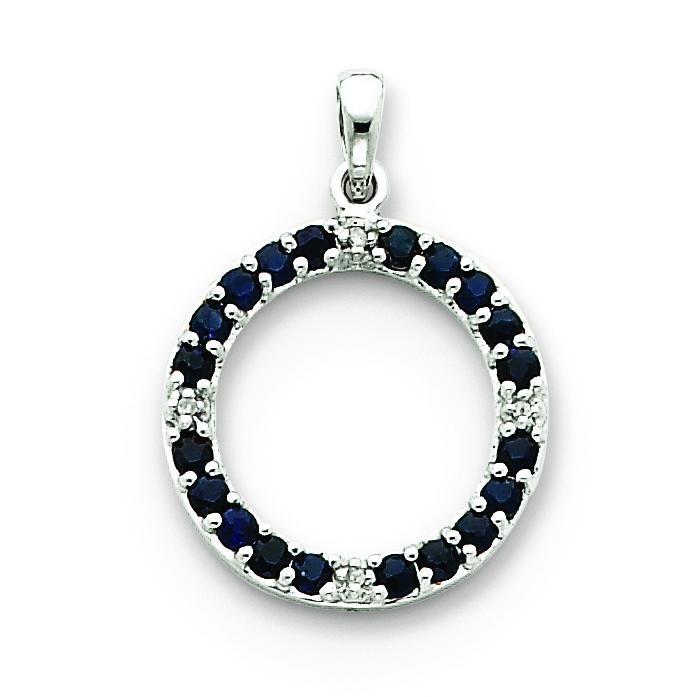 Sapphire Diamond Circle Pendant in 14k White Gold