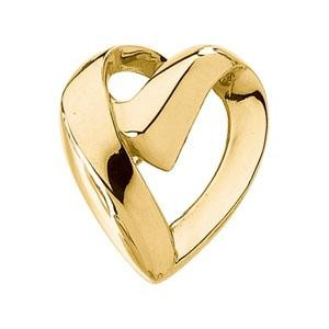 Heart  Chain Slide in 14k Yellow Gold
