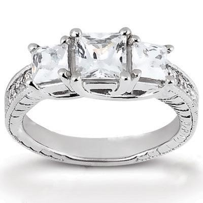 Antique Princess Cut Diamond Ring in 14K Yellow Gold