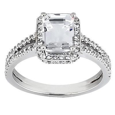 Elegant Pave Emerald Cut Diamond Ring in 14K Yellow Gold