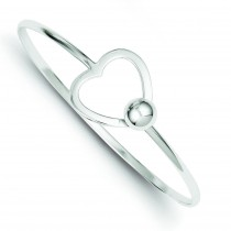 Heart Bangle Bracelet in Sterling Silver