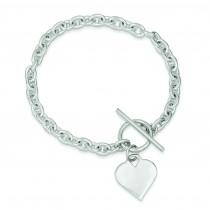 Heart Toggle Bracelet in Sterling Silver